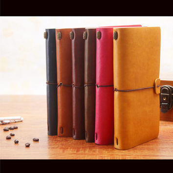 6 Colors Leather Bound Notebook Travel Journal Handmade Memory Vintage Style Diary School Supplies Notepad 01642