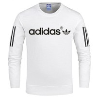 ADIDAS spring and autumn new men's cotton long sleeve pullover sweater white