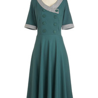 ModCloth 40s Long Short Sleeves A-line Thyme a Believer Dress