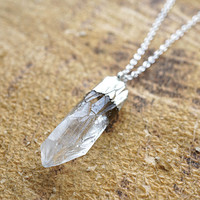 Long Crystal Point Necklace, Raw Clear Crystal Point, Crystal Necklace, Crystal Pendant Necklace, Silver Necklace, Sterling Silver Chain