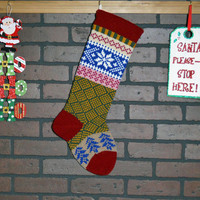 Christmas Stocking, Hand Knit with Claret Red Cuff, Aran Snowflakes and Royal Blue Trees, can be personalized