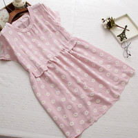 Pink Sweet daisy printing o-neck short sleeve loose dress mri girl summer