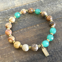"""Picture Jasper and Aventurine """"Balance and Protection"""" Bracelet"""