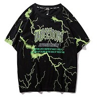 T Shirt Mens Hip Hop Dark Lightning Tshirt Streetwear Summer Cotton Harajuku T-shirts Short Sleeve Tops Tees Street Wear