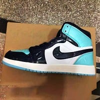 elainse29 NIKE Air Jordan 1 AJ1 High tops Contrast Basketball shoes blue black white