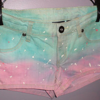 Tie Dyed shorts (Light Pink and Light Turquoise)