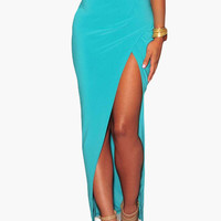 Asymmetrical Wrap Side Slit Maxi Skirt