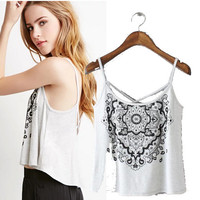 Stylish Vintage Print Backless Camisole Women's Fashion Tops [5013429060]