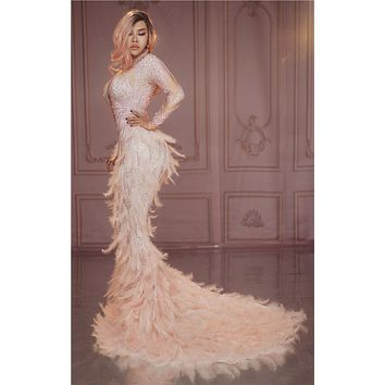 Pink Blush 3 D Gown with Feathers 19