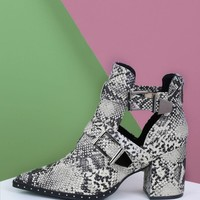 Double Buckle Cut Out Snake Chunky Heel Booties