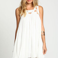 Ivory Strappy Caged Gauze Dress - LoveCulture