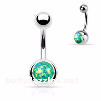 Opal Sparkly Belly Ring Light Green Glitter 14ga Surgical Steel Body Jewelry Navel Ring