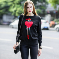 Sweetheart Lady Print Pullover Knitted Sweater