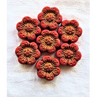 Twelve Czech glass wild rose flower beads - 14mm opaque matte red floral beads with a bronze wash C07105