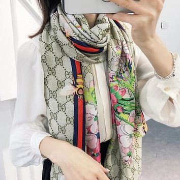 GUCCI Women Fashion New Bee Stripe Floral More Letter Print Leisure Scarf