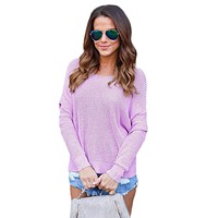 Chicloth Violet Knit Sweater with Twist Back Detail