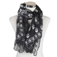 Fashionable Black White Skull Scarf For Women