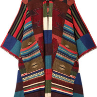 Etro - Fringed leather-trimmed wool-blend cape