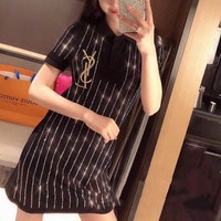 """Yves Saint Laurent YSL"" Women Casual Fashion Hot Fix Rhinestone Short Sleeve Polo T-shirt Dress"