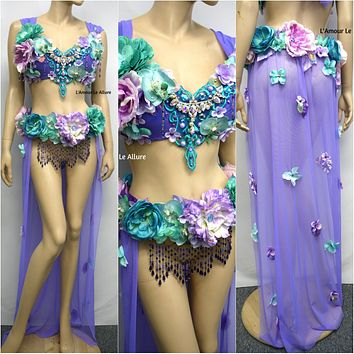 Two Piece Lavender Purple and Turquoise Teal Fairy Gown with Train Costume