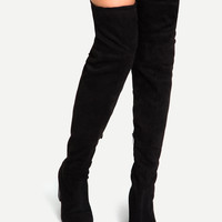 Chunky Heel Over The Knee High Lace-Up Boots