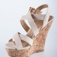 Simple Strap Cork Wedges - Blush from Sandals at Lucky 21 Lucky 21