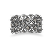 Square Pattern Marcasite Ring