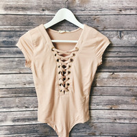 Kendall Lace Up Body Suit (Blush)