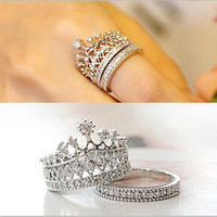 Fashion  Fine Jewelry His Royal Highness The Queen Crystal Rhinestone Crown Ring For Women
