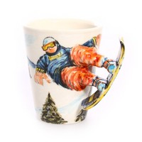 Blue Witch Ceramics   The O List   Pup on a Cup  Hand Crafted Ceramic Arts Blue Witch, 3D sports Mug - Snowboard 3D dog mugs, Salt & Pepper Shakers, Picture holders