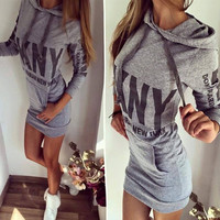 Women Party Dress Letter Print Hooded Front Pocket Long Sleeve Slim College Style Dress Spring Autumn Hoodie Dress Plus size