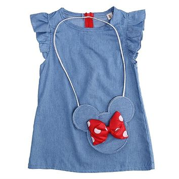 2017 Baby Toddlers Kids Girl Solid Dress Minnie Mouse Sleeveless Bag Ruffles Demin Casual Dresses 1-5Y