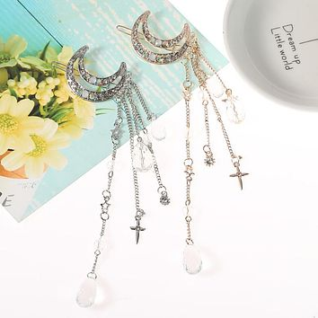Fashion Women Lady Moon Rhinestone Crystal Tassel Long Chain Beads Dangle Hairpin Hair Clip Hair Jewelry