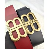 Balenciaga 2019 new women's classic double B metal letter smooth buckle belt