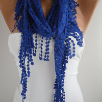 Cobalt/Blue Lace Scarf- Shawl Headband - Cowl with Lace Edge
