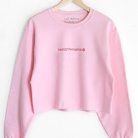 Happy Thoughts Cropped Oversized Sweatshirt