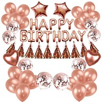 Birthday Party DIY Decorations Rose Gold Balloons Set