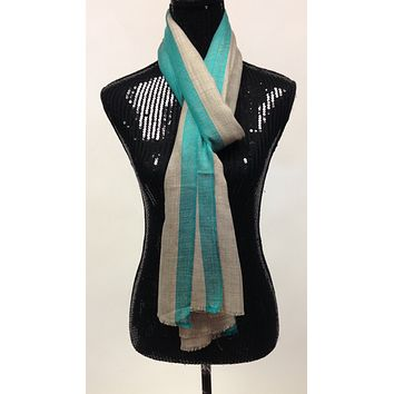 Pashmina wool Scarf/Stole with Turquoise Blue Border