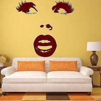 Wall Sticker Vinyl Decal Beautiful Woman Face Surprised Eye Lips Makeup Unique Gift (ig1364)