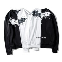 Couple Winter Print Round-neck Pullover Hoodies [11218583815]