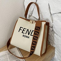 FENDI Trend New Canvas Embroidered Letters Ladies Shopping Handbag Shoulder Bag Messenger Bag