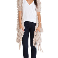 heartLoom Shelby Rabbit Fur Wrap in Taupe