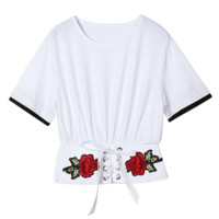 Embroidered Rose show waist Short Sleeve T-Shirt white top