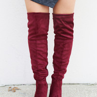 Over The Knee Boots {Wine}