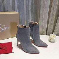 Christian Louboutin Trending Womens men Leather Side Zip Lace-up Ankle Boots Shoes High Boots-1
