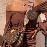 Louis Vuitton letter printing fashion casual ladies wide shoulder strap one-shoulder messenger bag three-piece set