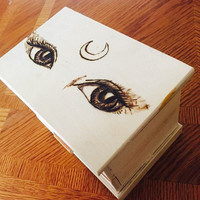"Custom wood burned ""Moon Child"" Jewelry Box"