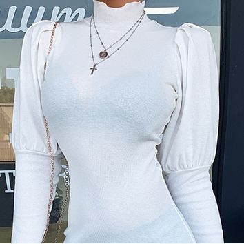 New hot sale thread cotton sexy puff sleeve dress