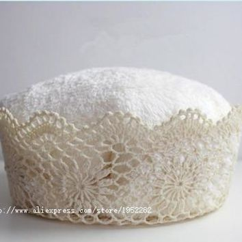 Crochet Cotton Lace Basket for Newborn Baby Photography Prop