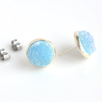 Blue stud earrings, druzy studs, post earrings, druzy quartz studs, stud posts, blue earrings, simple studs, women's jewelry, 10mm